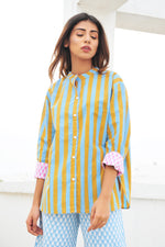 SZ Guru Top in Pastel Blue & Camel Stripe