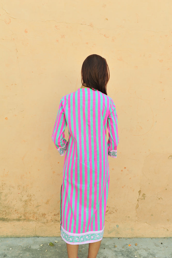 SZ Isle Frock in Bright Pink and Green Stripe