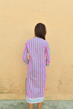 SZ Isle Frock in Bright Pink and Green Stripe PRE-SALE