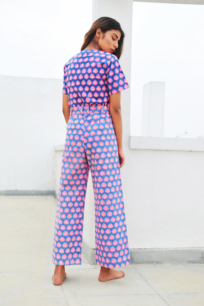 SZ Disco Pants in Gaze Blue, Hot Pink, Neon Papaya Bagru Print