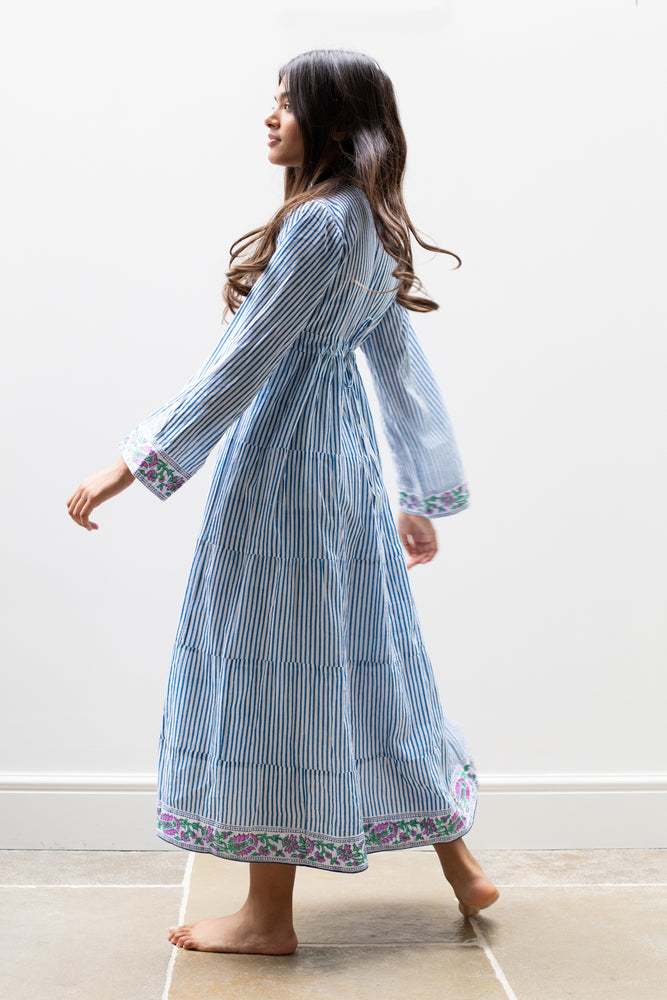 Yuva Dress in Greece Blue Stripes