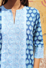 SZ Long Kurta in Navy Bagru Stamp