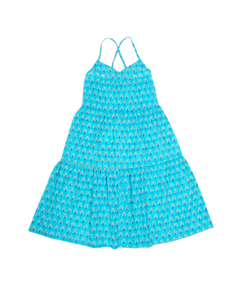 SZ Tier Dress in Aqua Waterlily