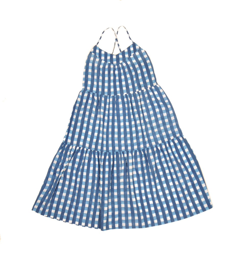 SZ Tier Dress in Blue Gingham