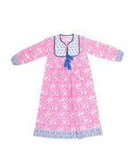 SZ Kitty Dress in Hot Pink Bagru Stamp