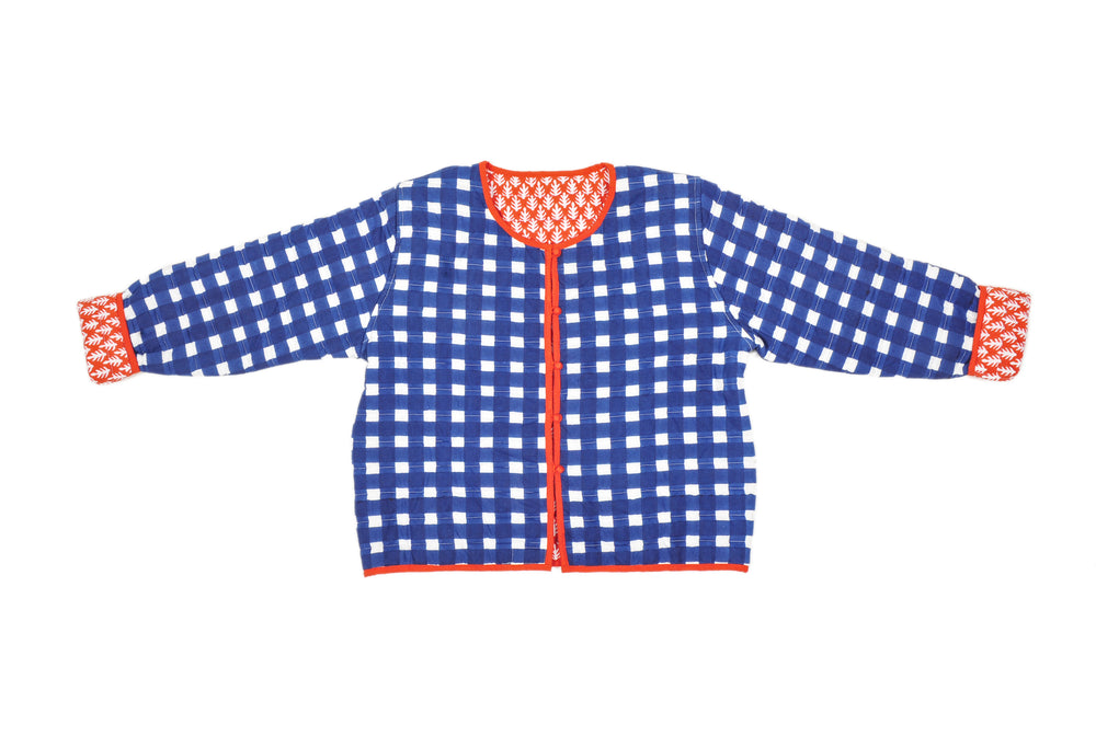 SZ Quilted Reversible Crop Jacket in Blue Gingham and Orange Red Patti