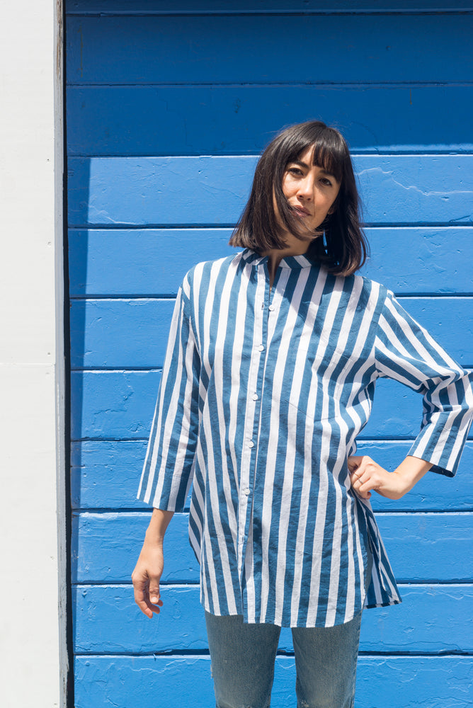SZ Long Guru Top in Navy Stripe