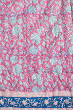 Hot Pink Essa Print with Navy Stripes Baby Quilt