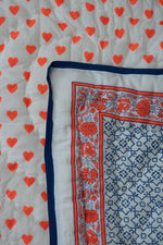 True Blue Chalk Print with Neon Papaya Hearts Baby Quilt