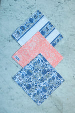 Helping Hands Jaipur x SZ napkins (set of 4) in Border Blue
