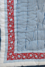 Red and Navy Bagru Stamp Baby Quilt