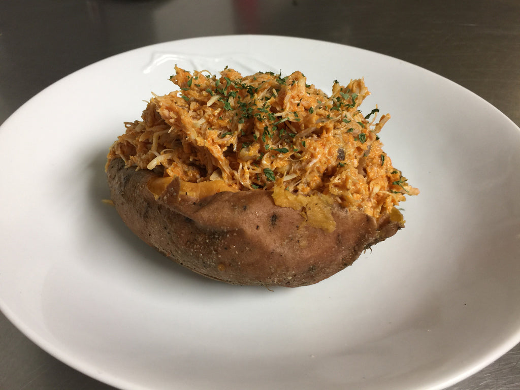 Buffalo Chicken Smothered Sweet Potato