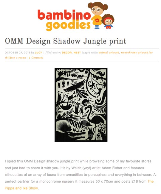 Adam Fisher Shadow Jungle print featured on Bambino Goodies blog