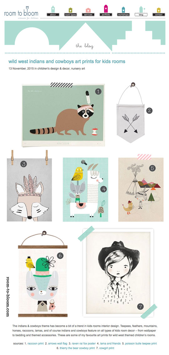 Suzy Ultman prints and Ferm Living Arrow wall flag featured on Room to Bloom blog
