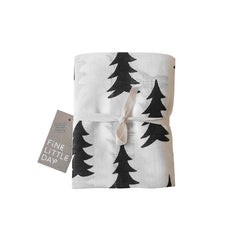 Muslin blanket Gran pine tree black and white by Fine Little Day