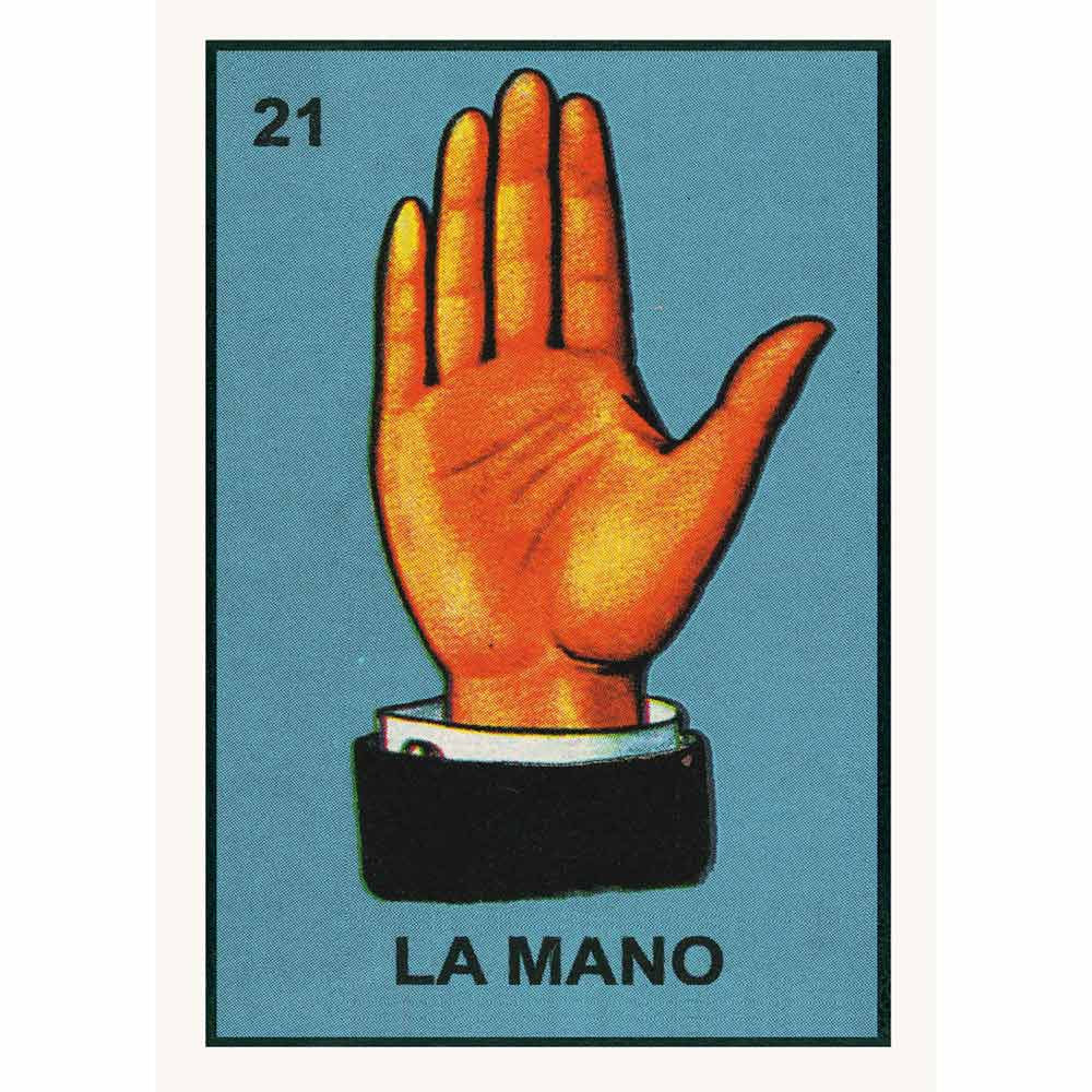Colourful retro  Loteria poster La Mano by Kitsch Kitchen, with a beautiful illustration of a hand taken from vintage Mexican vocabulary prints.  Gorgeous, colourful and affordable decoration, wouldn