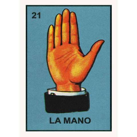 Colourful retro poster La Mano by Kitsch Kitchen, with a beautiful illustration of a hand taken from vintage Mexican vocabulary prints.  Gorgeous, colourful and affordable decoration, wouldn