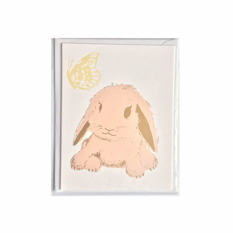 Little rabbit card pink or mini print - Kim Jenkins