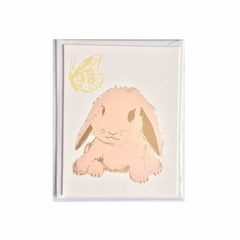Little rabbit card pink or mini print by Kim Jenkins of Lucky Bird