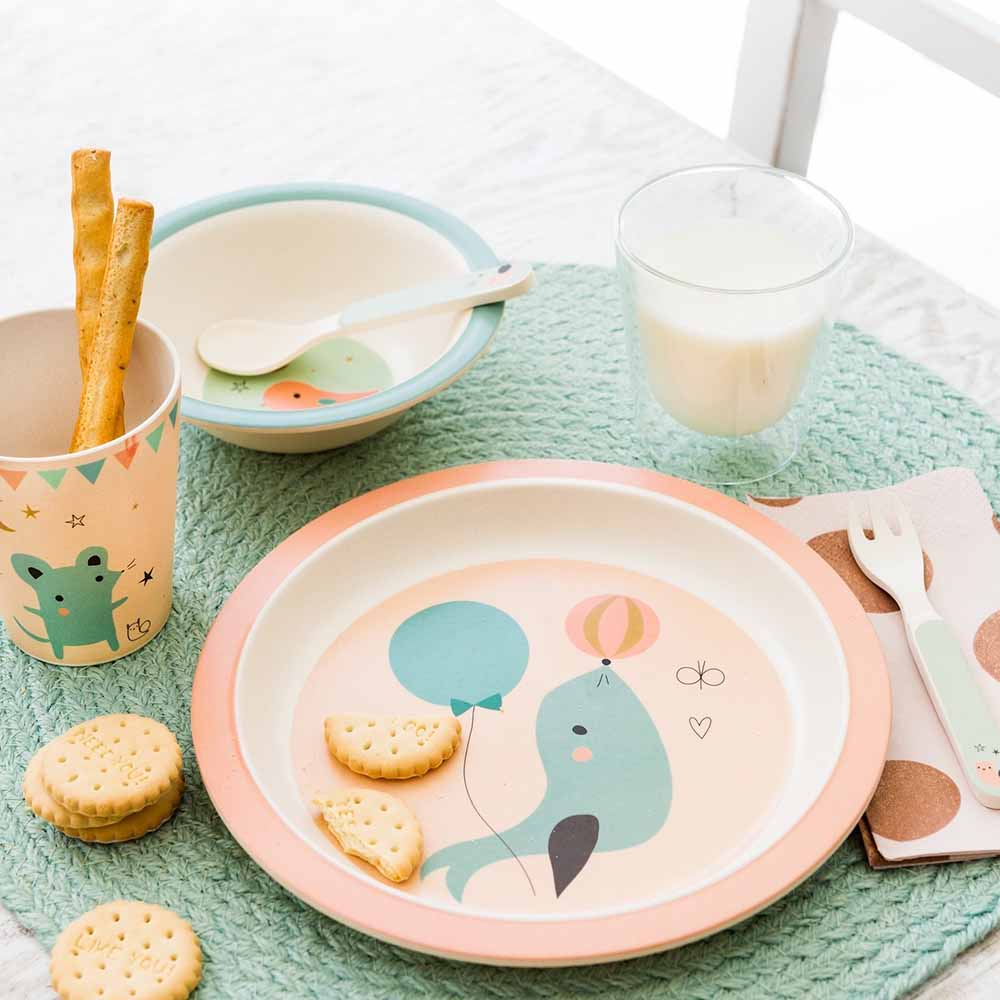 Mix & match bamboo tableware by Little Cube for Petit Monkey
