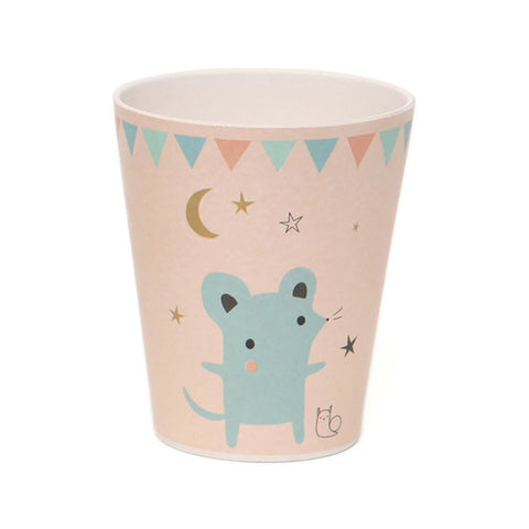 Bamboo cup Mouse, peach by Little Cube for Petit Monkey