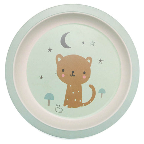 NEW * Bamboo plate Leopard, mint - Little Cube