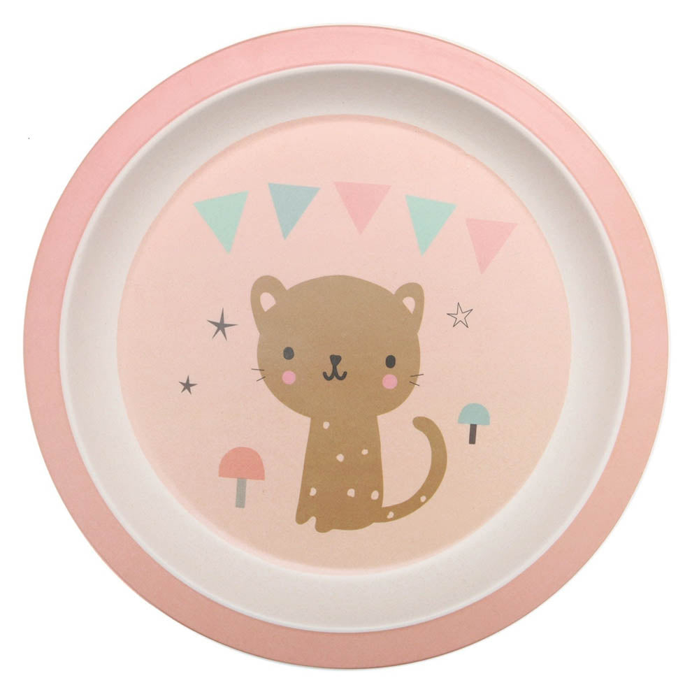 Bamboo plate Leopard, peach by Little Cube for Petit Monkey