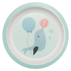 Bamboo plate Seal in blue by Little Cube for Petit Monkey