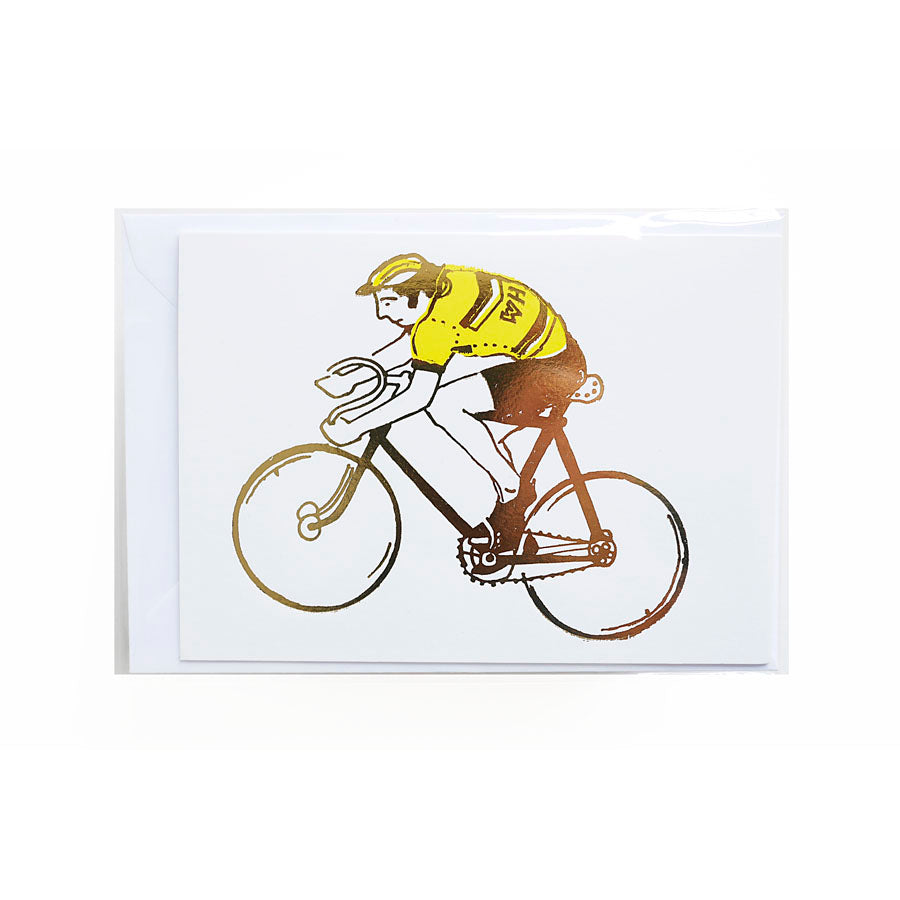 Really cool handprinted card with cyclist print by Kim Jenkins of Lucky Bird.
