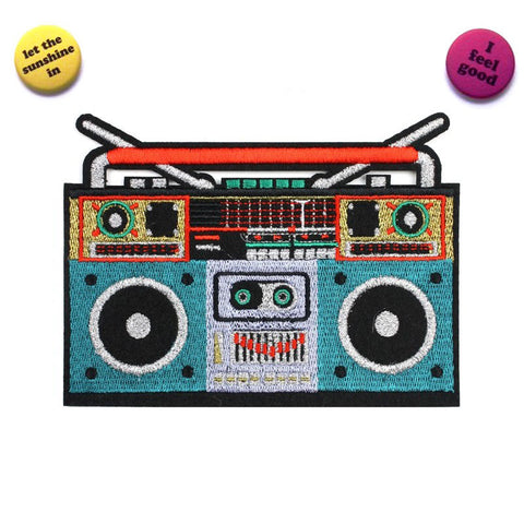 Large ghetto blaster iron on patch