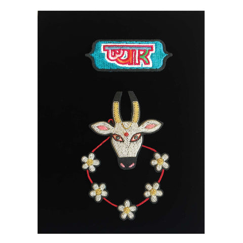 Large Indian holy cow brooch with flowers and