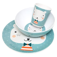 Melamine bowl, plate and cup Bear by Haciendo el Indio for Petit Monkey