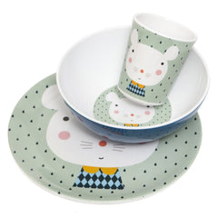 Melamine cup, bowl and plate Mouse by Haciendo el Indio for Petit Monkey