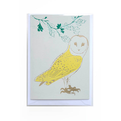 Beautiful handprinted card with owl print by Kim Jenkins of Lucky Bird.