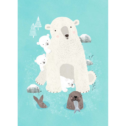 Nanook & polar bear cubs postcard or mini print by Rebecca Jones for Petit Monkey