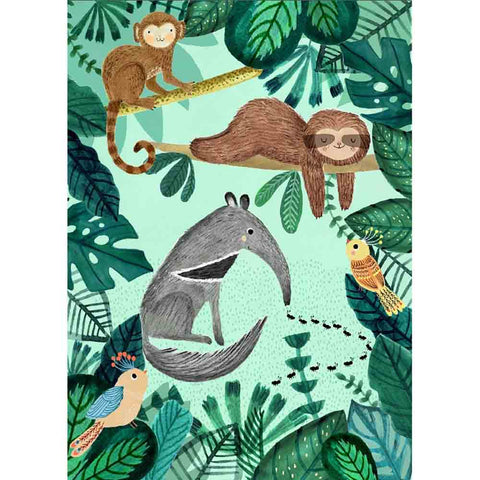 Anteater and Sloth postcard or mini print by Rebecca Jones for Petit Monkey