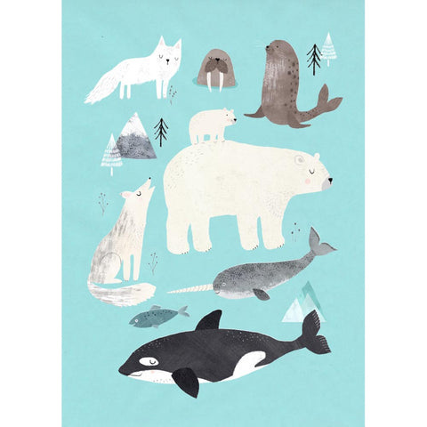 NEW * Arctic Animals postcard or mini print - Rebecca Jones