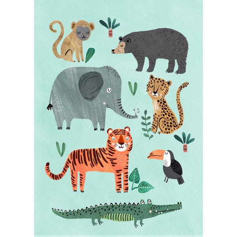 Wild Animals postcard or mini print by Rebecca Jones for Petit Monkey