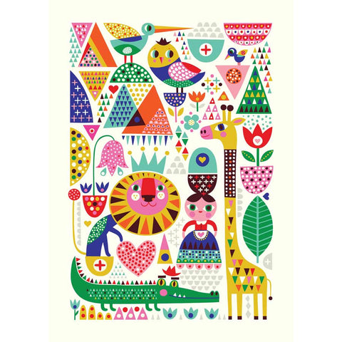colourful Scandinavian Zoo print by Helen Dardik for Petit Monkey