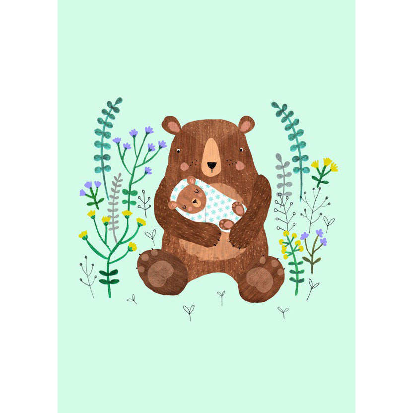 Baby Bear postcard or mini print by Rebecca Jones for Petit Monkey