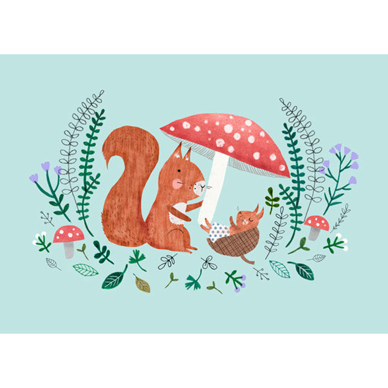Baby Squirrel postcard or mini print by Rebecca Jones for Petit Monkey