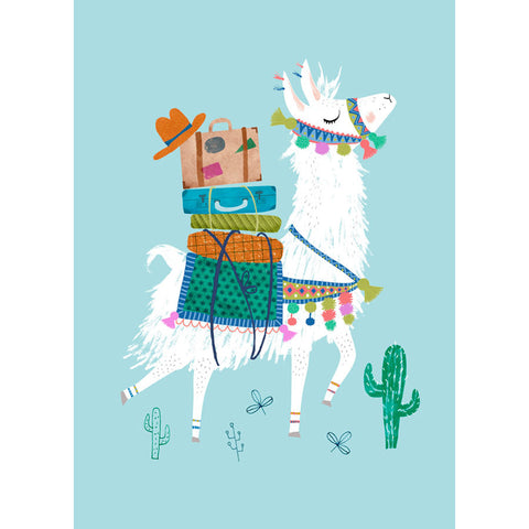 Traveling Lama postcard or mini print - Rebecca Jones