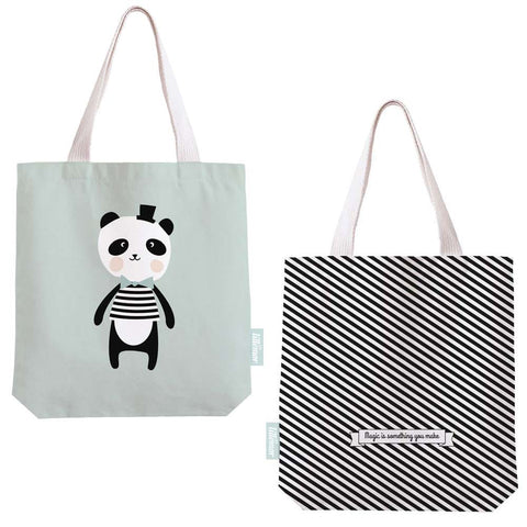 Panda and Polar Bear tote bags Eef Lillemor