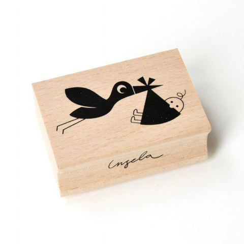 Rubber stamp newborn Stork by Ingela P Arrhenius
