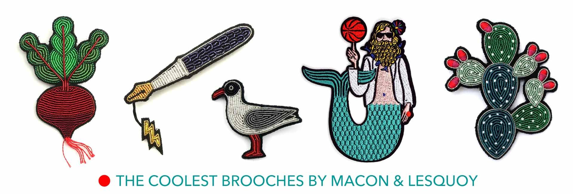 Macon & Lesquoy embroidered brooches at The Pippa & Ike Show