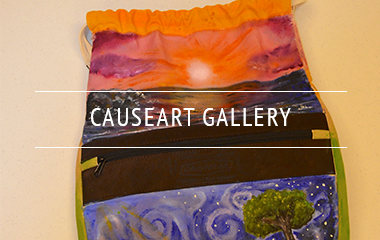 CAUSEGEAR natural canvas totes painted with scenes of a coastal sunrise and a meadow with a tree.