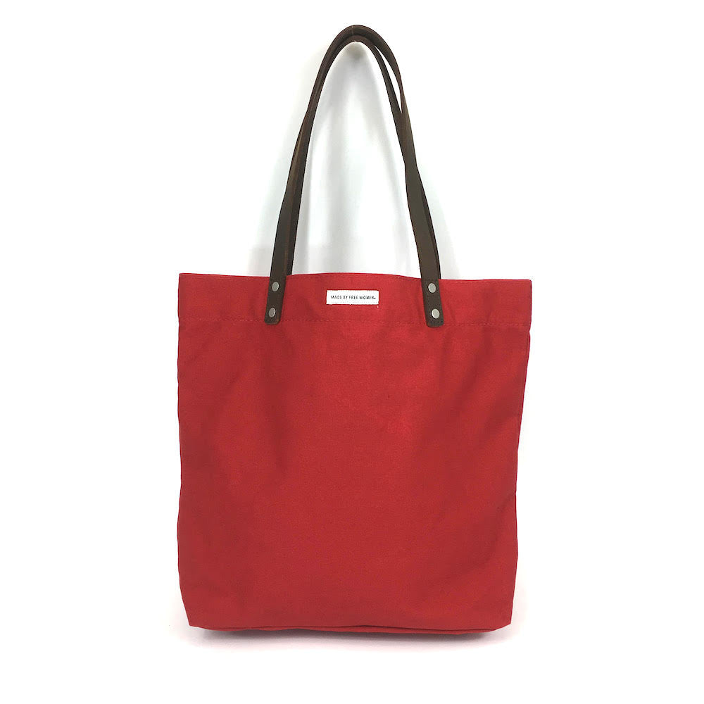 day tote. made by free woman. tote bags canvas. hand made. justice. tote bags wholesale. tote bags for school. tote bag with zipper. high quality tote bags. canvas tote bags with zipper. Eco bags. red.