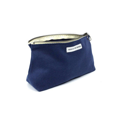 BEAUTY POUCH INDIGO. Cotton bag. Makeup Bag. cosmetic bag. corporate gifts. organic canvas