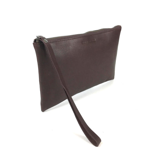LEATHER CLUTCH BROWN