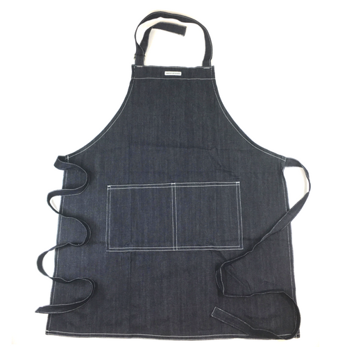 APRON NAVY DENIM with pockets. Ethical. Empowerment. MADE BY FREE WOMAN